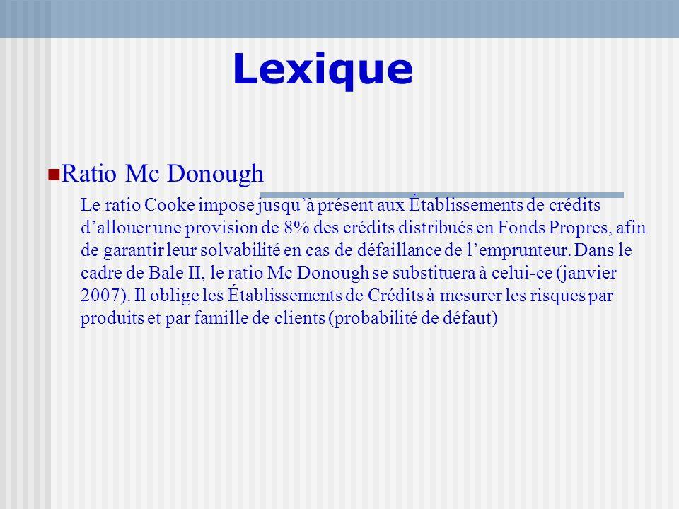 Lexique Ratio Mc Donough Le ratio Cooke impose jusquà présent aux Établissements de crédits dallouer une provision de 8% des crédits distribués en Fon