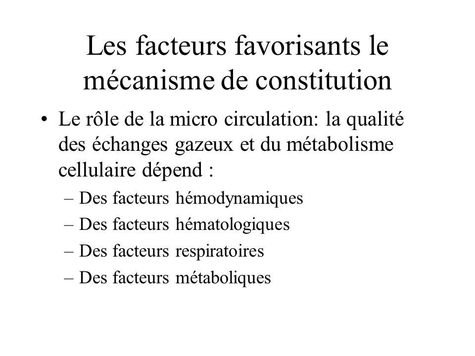 Les facteurs favorisants le mécanisme de constitution Le rôle de la micro circulation: la qualité des échanges gazeux et du métabolisme cellulaire dép