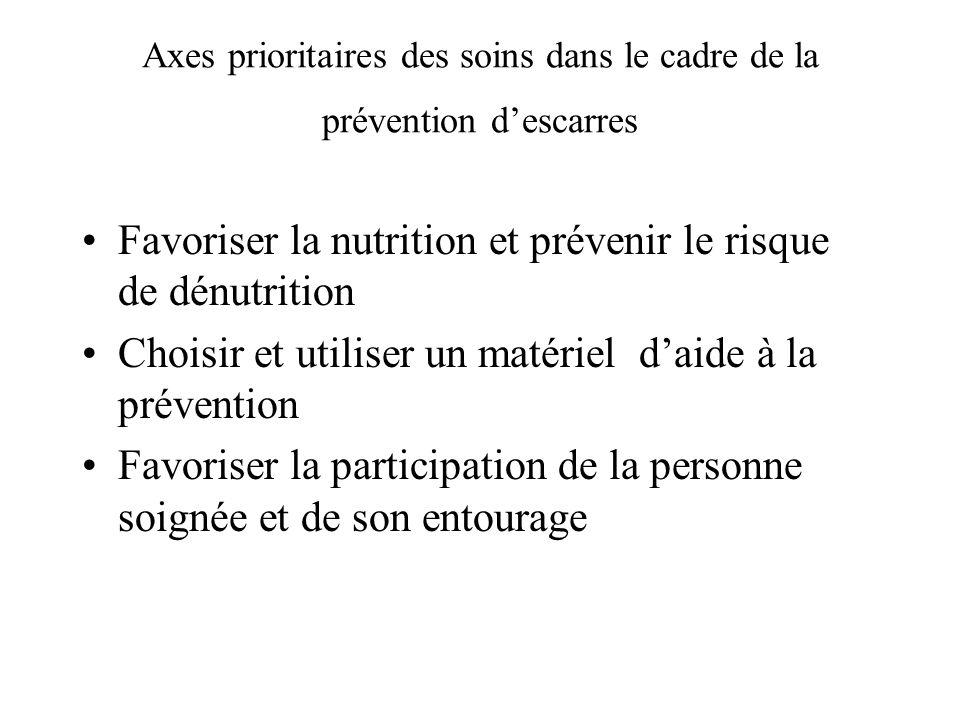 Axes prioritaires des soins dans le cadre de la prévention descarres Favoriser la nutrition et prévenir le risque de dénutrition Choisir et utiliser u