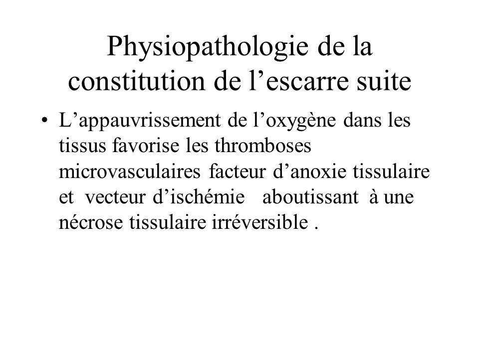 Physiopathologie de la constitution de lescarre suite Lappauvrissement de loxygène dans les tissus favorise les thromboses microvasculaires facteur da