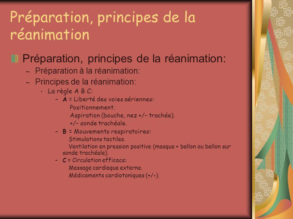 Préparation, principes de la réanimation Préparation, principes de la réanimation: – Préparation à la réanimation: – Principes de la réanimation: La r