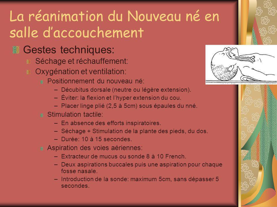 La réanimation du Nouveau né en salle daccouchement Gestes techniques: Séchage et réchauffement: Oxygénation et ventilation: Positionnement du nouveau