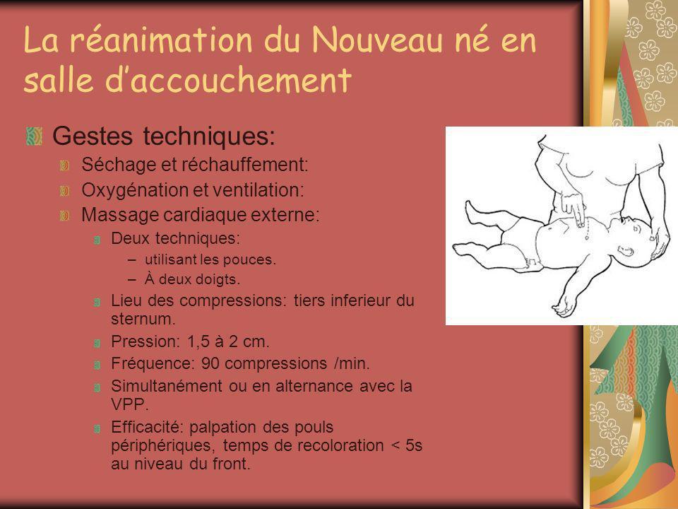 La réanimation du Nouveau né en salle daccouchement Gestes techniques: Séchage et réchauffement: Oxygénation et ventilation: Massage cardiaque externe