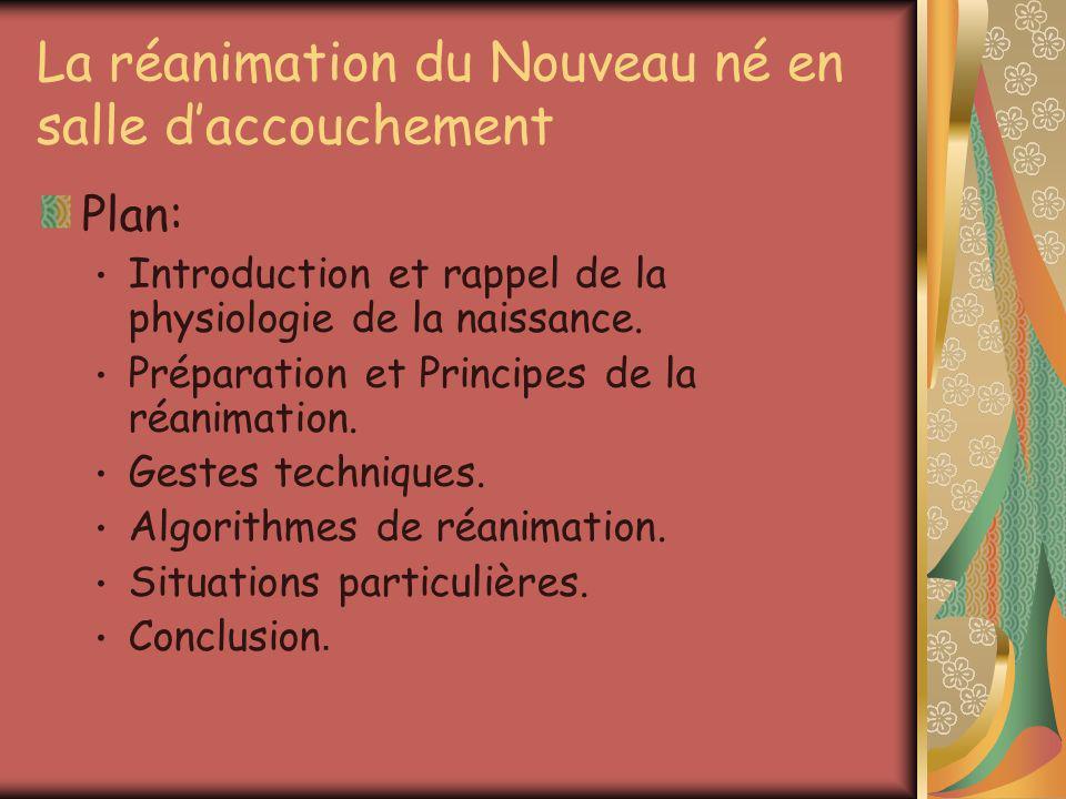 Algorithmes de réanimation Evaluation à la naissance: Conduire simultanément la réanimation et lobservation des éléments suivant: La réaction au stimulations.