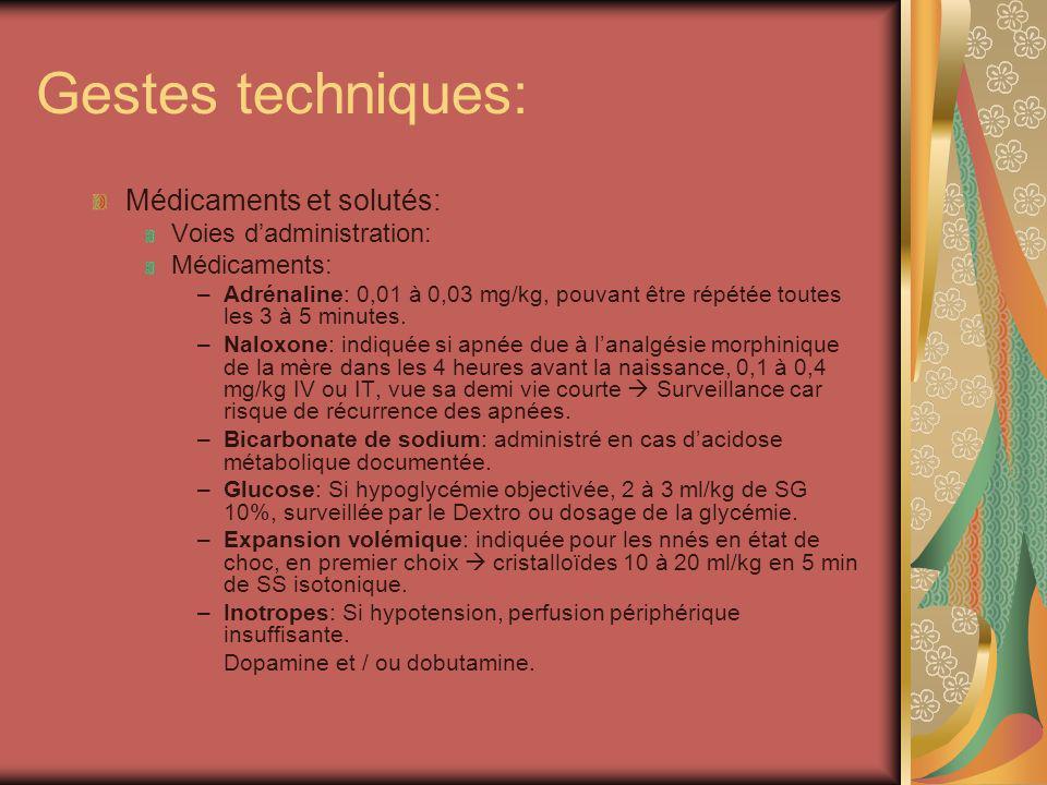 Gestes techniques: Médicaments et solutés: Voies dadministration: Médicaments: –Adrénaline: 0,01 à 0,03 mg/kg, pouvant être répétée toutes les 3 à 5 m