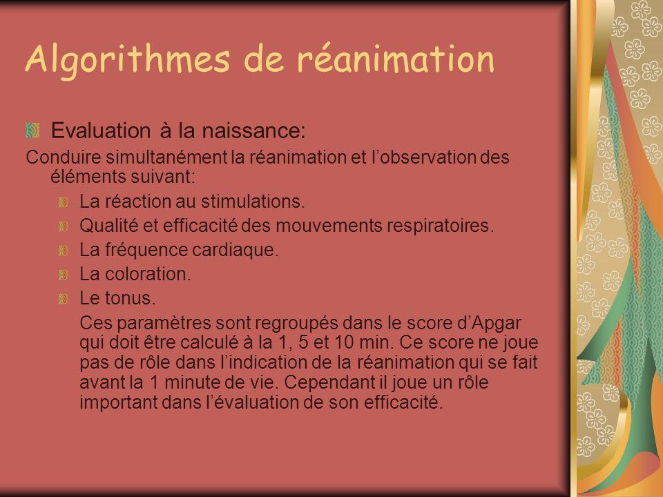 Algorithmes de réanimation Evaluation à la naissance: Conduire simultanément la réanimation et lobservation des éléments suivant: La réaction au stimu