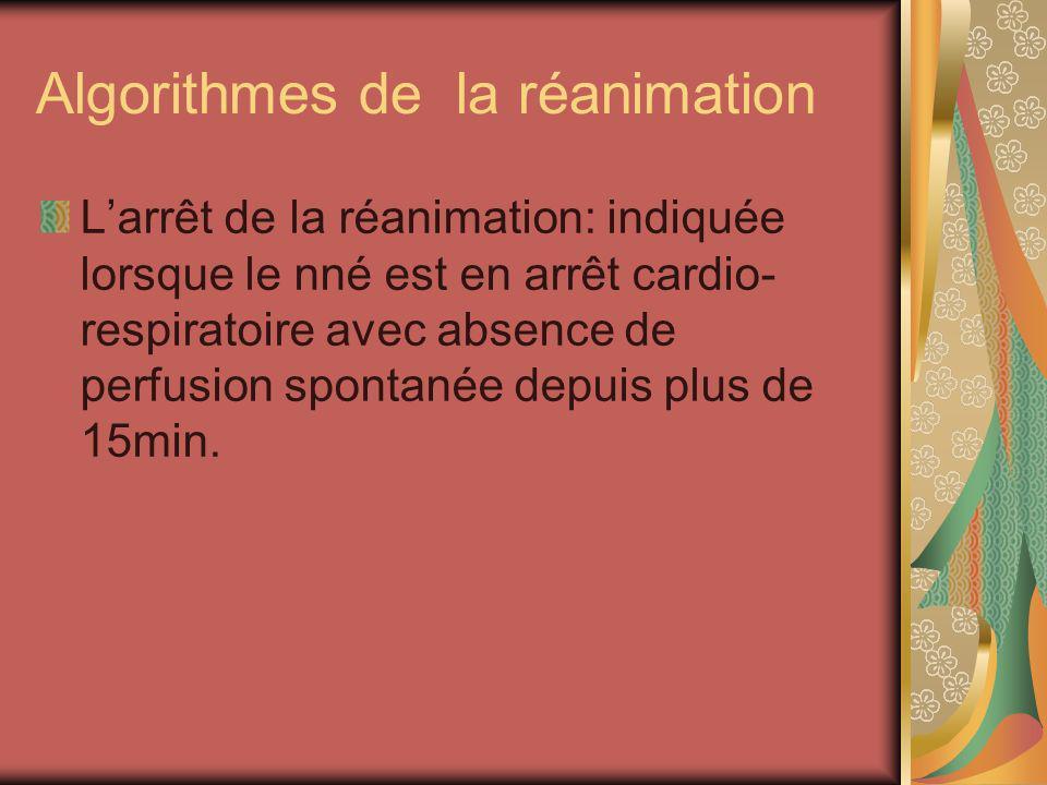 Algorithmes de la réanimation Larrêt de la réanimation: indiquée lorsque le nné est en arrêt cardio- respiratoire avec absence de perfusion spontanée
