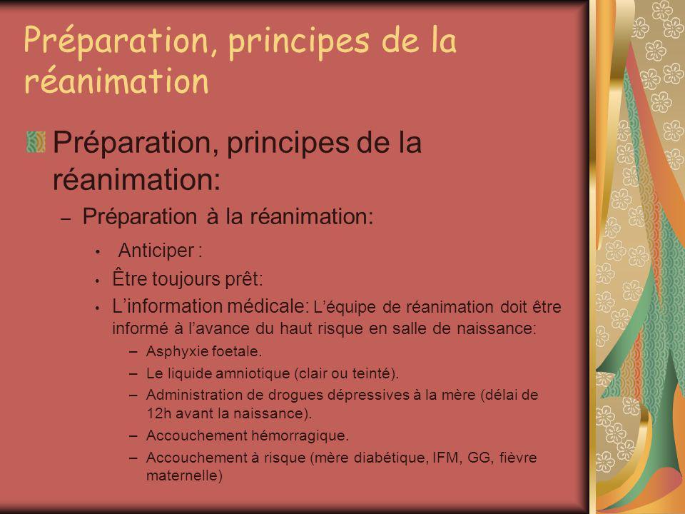 Préparation, principes de la réanimation Préparation, principes de la réanimation: – Préparation à la réanimation: – Principes de la réanimation: La règle A B C: –A = Liberté des voies aériennes: Positionnement.
