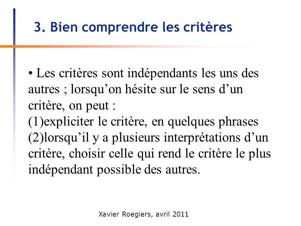 Xavier Roegiers, avril 2011 3. Bien comprendre les critères Les critères sont indépendants les uns des autres ; lorsquon hésite sur le sens dun critèr