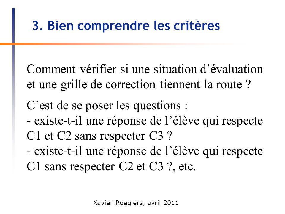 Xavier Roegiers, avril 2011 3. Bien comprendre les critères Comment vérifier si une situation dévaluation et une grille de correction tiennent la rout
