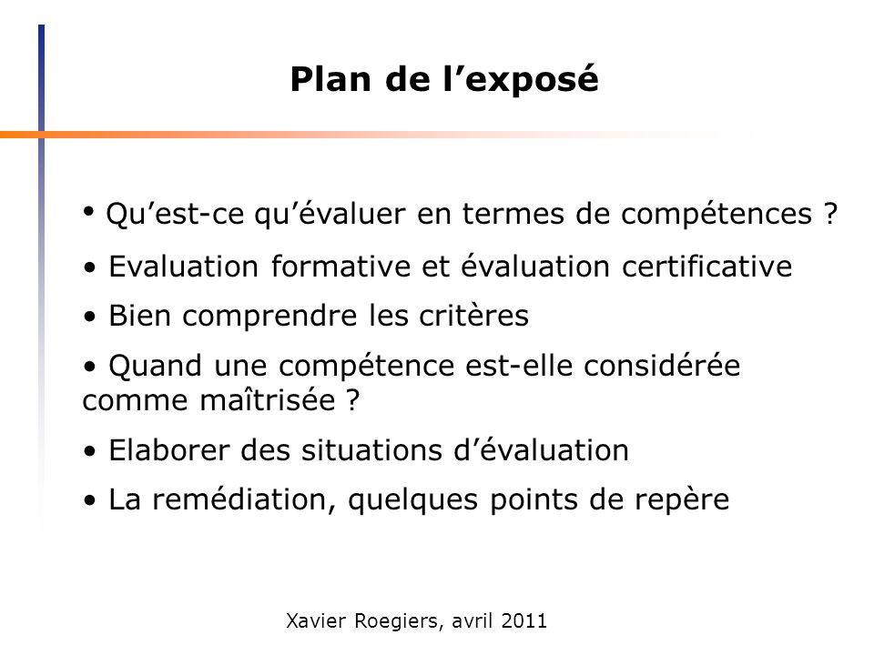Xavier Roegiers, avril 2011 Plan de lexposé Quest-ce quévaluer en termes de compétences ? Evaluation formative et évaluation certificative Bien compre