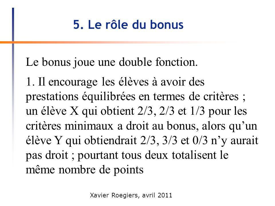 Xavier Roegiers, avril 2011 5. Le rôle du bonus Le bonus joue une double fonction. 1. Il encourage les élèves à avoir des prestations équilibrées en t