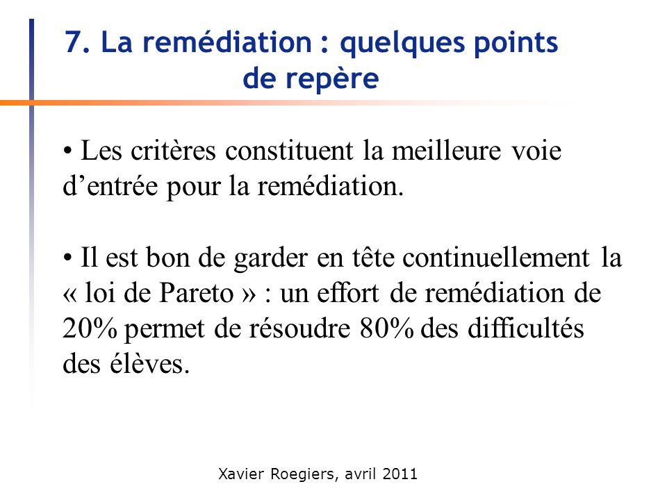 Xavier Roegiers, avril 2011 7. La remédiation : quelques points de repère Les critères constituent la meilleure voie dentrée pour la remédiation. Il e