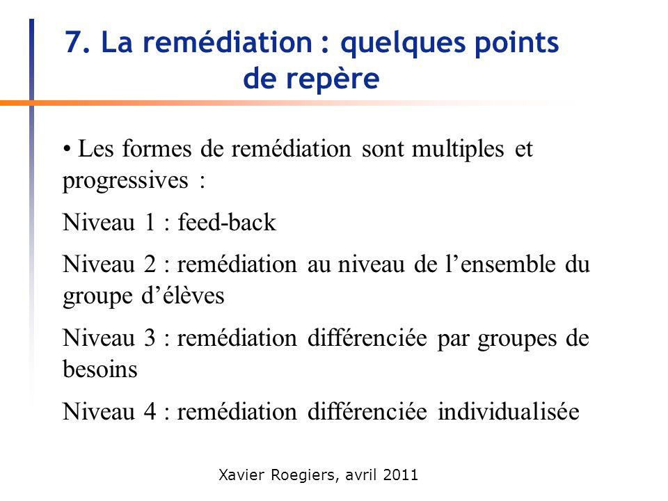 Xavier Roegiers, avril 2011 7. La remédiation : quelques points de repère Les formes de remédiation sont multiples et progressives : Niveau 1 : feed-b