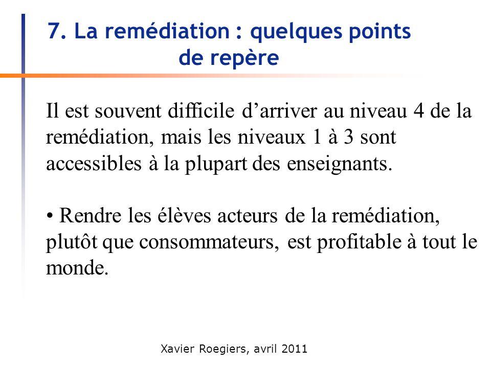 Xavier Roegiers, avril 2011 7. La remédiation : quelques points de repère Il est souvent difficile darriver au niveau 4 de la remédiation, mais les ni