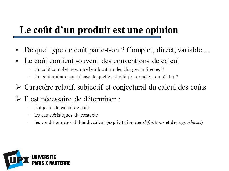 Le coût dun produit est une opinion De quel type de coût parle-t-on ? Complet, direct, variable… Le coût contient souvent des conventions de calcul –U