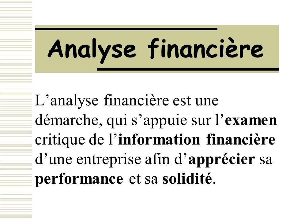 Analyse financière Lanalyse financière est une démarche, qui sappuie sur lexamen critique de linformation financière dune entreprise afin dapprécier s