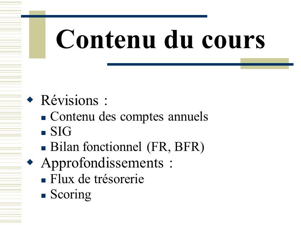 Contenu du cours Révisions : Contenu des comptes annuels SIG Bilan fonctionnel (FR, BFR) Approfondissements : Flux de trésorerie Scoring