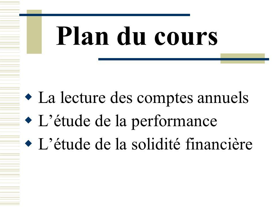 Plan du cours La lecture des comptes annuels Létude de la performance Létude de la solidité financière
