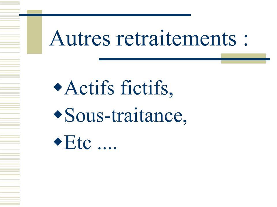 Autres retraitements : Actifs fictifs, Sous-traitance, Etc....