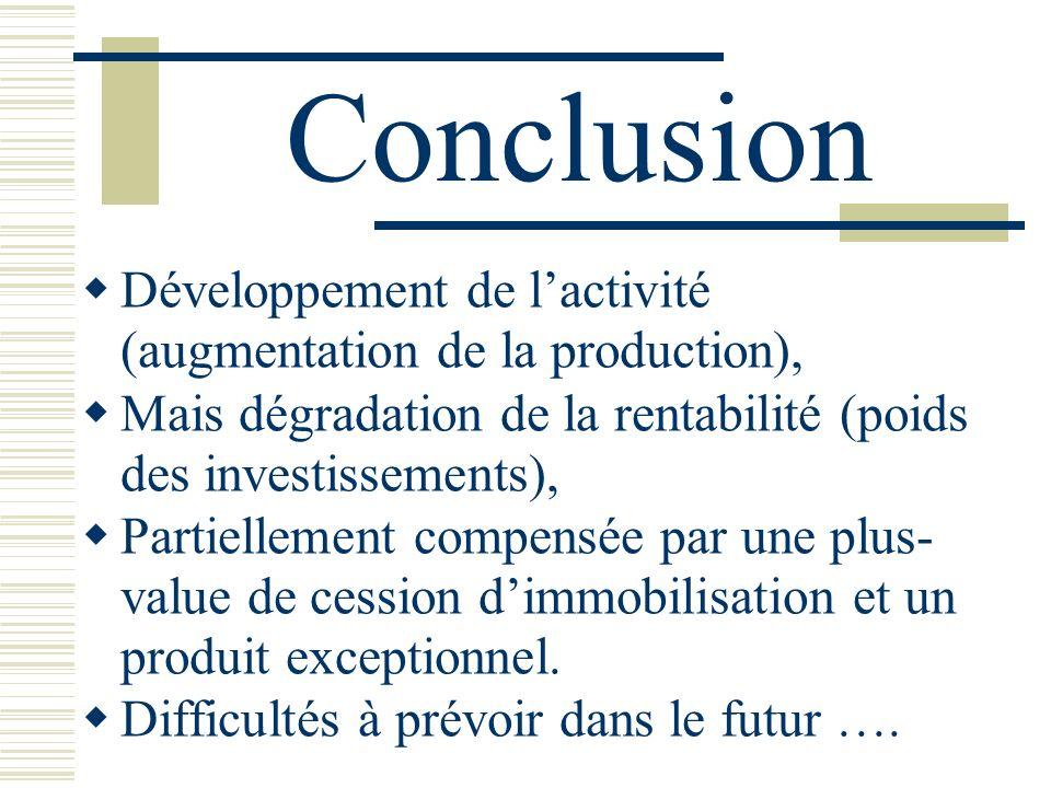 Conclusion Développement de lactivité (augmentation de la production), Mais dégradation de la rentabilité (poids des investissements), Partiellement c
