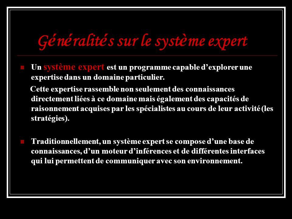 G é n é ralit é s sur le syst è me expert Un système expert est un programme capable dexplorer une expertise dans un domaine particulier. Cette expert