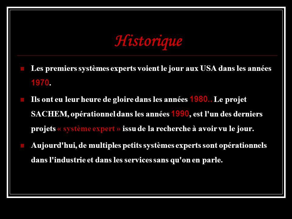 Historique Les premiers systèmes experts voient le jour aux USA dans les années 1970. Ils ont eu leur heure de gloire dans les années 1980.. Le projet