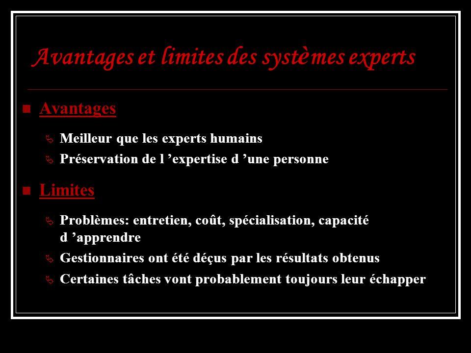 Avantages et limites des syst è mes experts Avantages Meilleur que les experts humains Préservation de l expertise d une personne Limites Problèmes: e