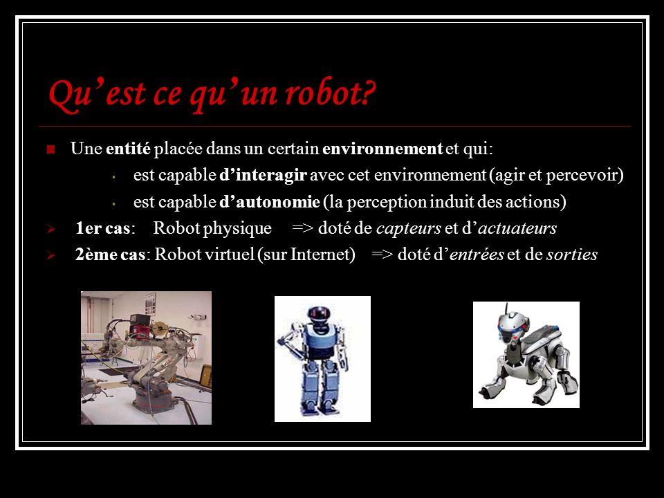 Qu est ce qu un robot? Une entité placée dans un certain environnement et qui: est capable dinteragir avec cet environnement (agir et percevoir) est c
