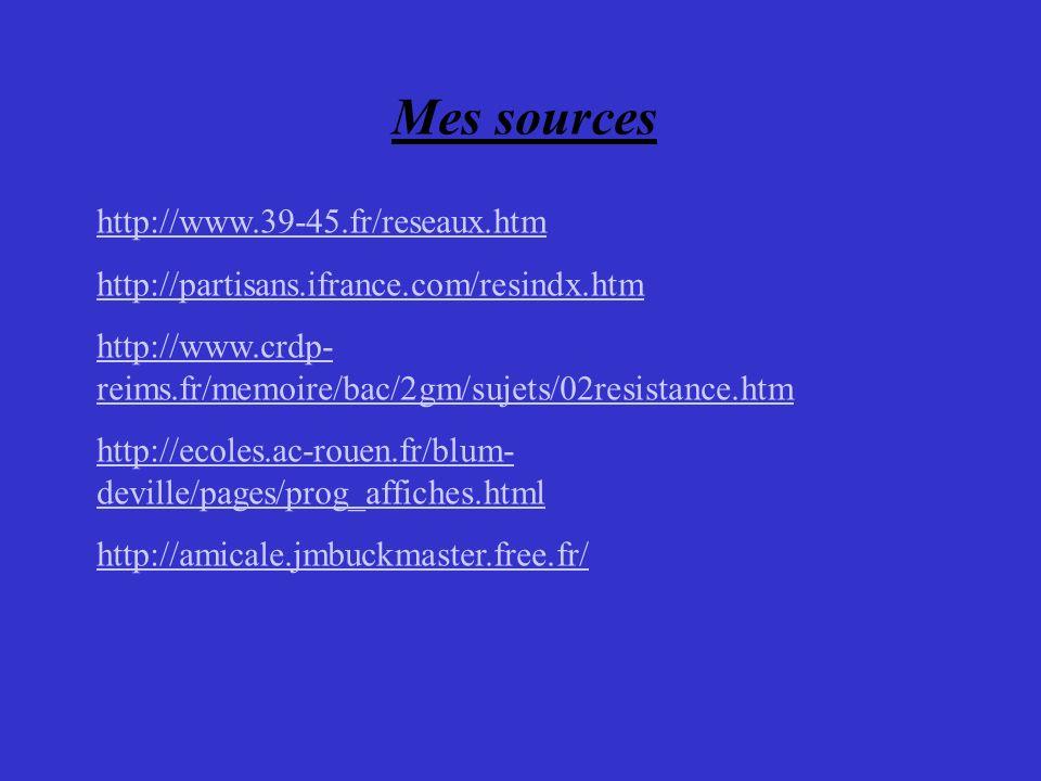 Mes sources http://www.39-45.fr/reseaux.htm http://partisans.ifrance.com/resindx.htm http://www.crdp- reims.fr/memoire/bac/2gm/sujets/02resistance.htm