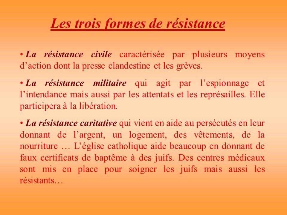 Les trois formes de résistance La résistance civile caractérisée par plusieurs moyens daction dont la presse clandestine et les grèves. La résistance
