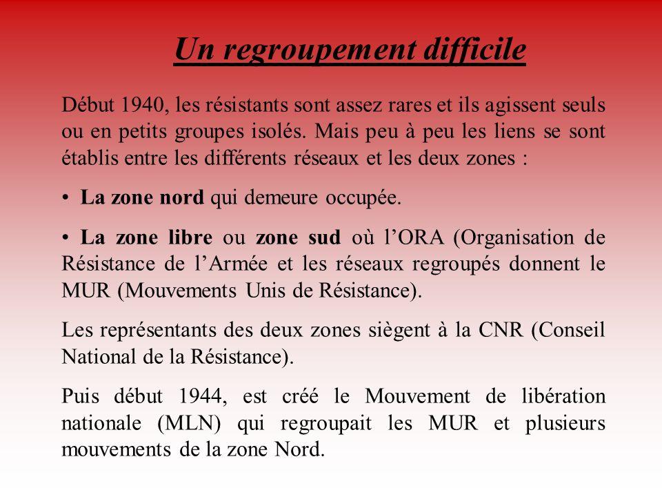 Les différents réseaux Conseil National de la Résistance Conseil National de la Résistance (C.N.R.) : création sous l égide de Jean Moulin le 27 mai 1943.