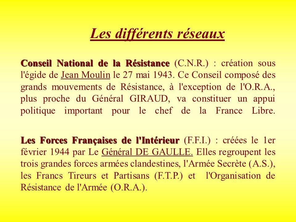 Les différents réseaux Conseil National de la Résistance Conseil National de la Résistance (C.N.R.) : création sous l'égide de Jean Moulin le 27 mai 1