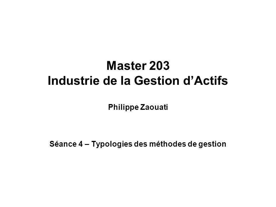 Master 203 Industrie de la Gestion dActifs Philippe Zaouati Séance 4 – Typologies des méthodes de gestion