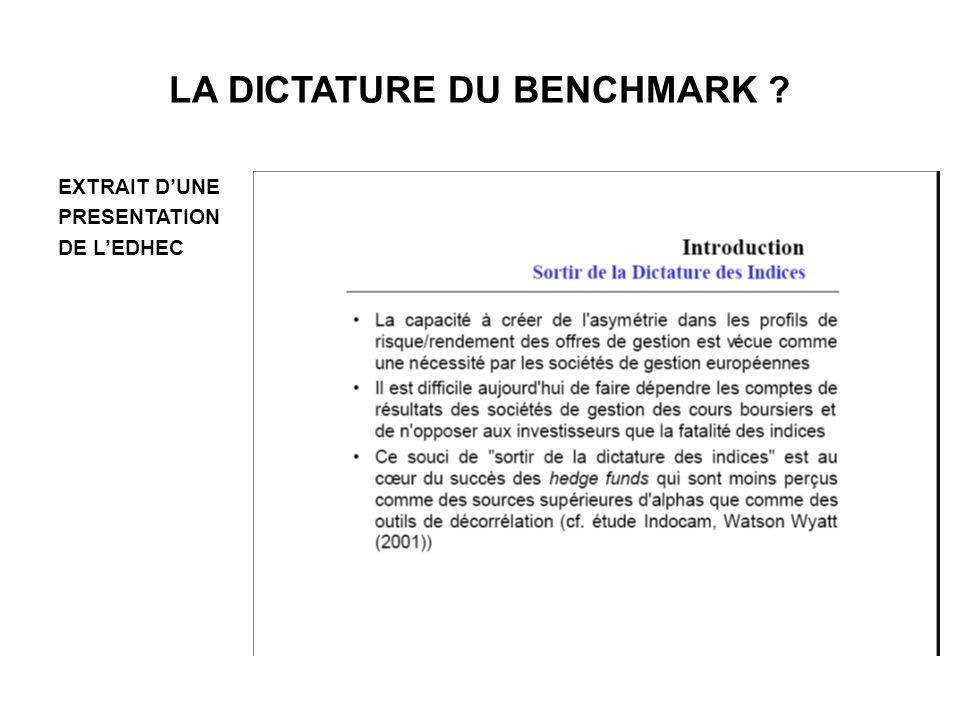 LA DICTATURE DU BENCHMARK ? EXTRAIT DUNE PRESENTATION DE LEDHEC