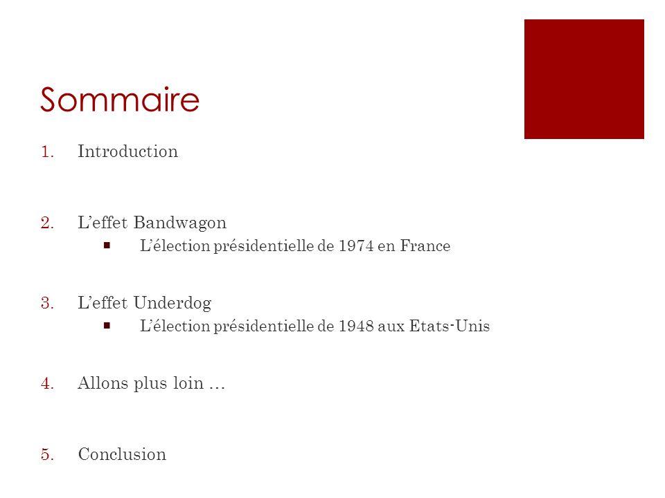Sommaire 1.Introduction 2.Leffet Bandwagon Lélection présidentielle de 1974 en France 3.Leffet Underdog Lélection présidentielle de 1948 aux Etats-Uni