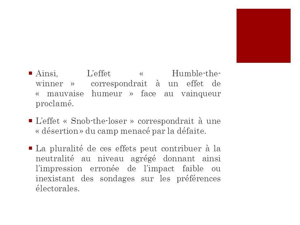 Ainsi, Leffet « Humble-the- winner » correspondrait à un effet de « mauvaise humeur » face au vainqueur proclamé. Leffet « Snob-the-loser » correspond