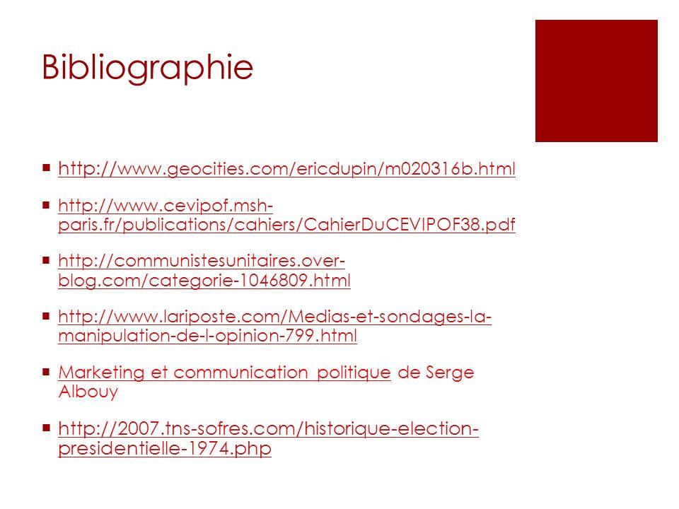 Bibliographie http:// www.geocities.com/ericdupin/m020316b.html http:// www.geocities.com/ericdupin/m020316b.html http://www.cevipof.msh- paris.fr/pub