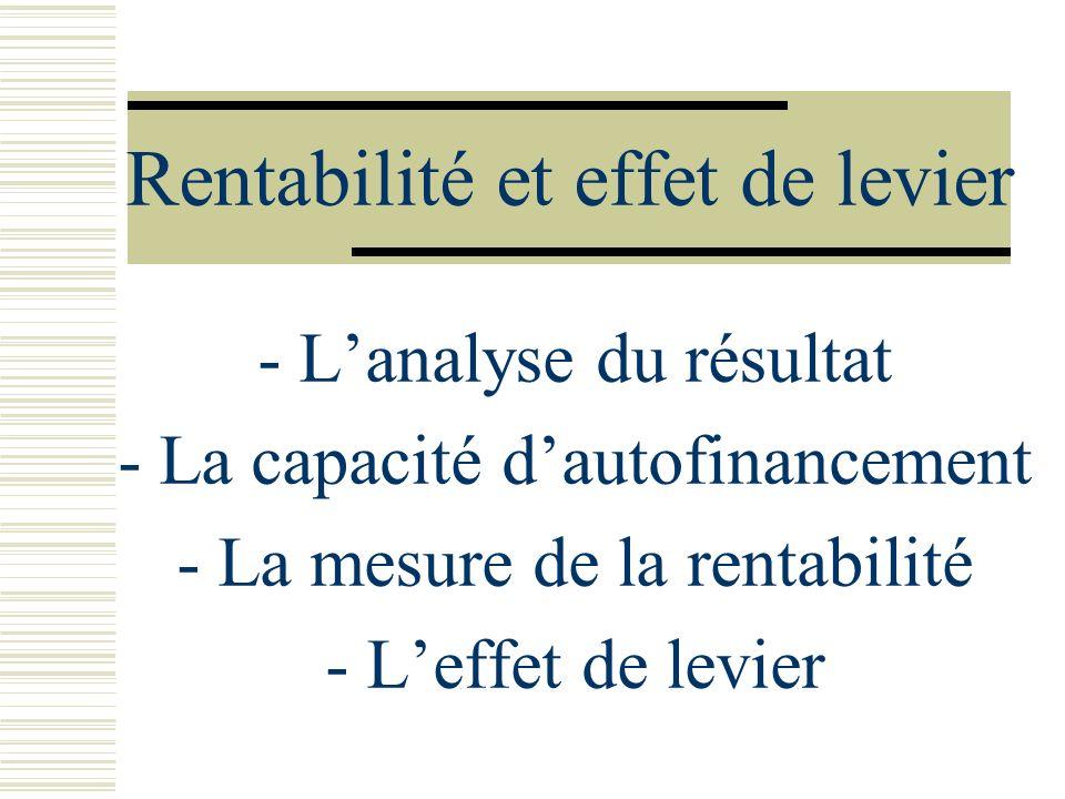 Rentabilité et effet de levier - Lanalyse du résultat - La capacité dautofinancement - La mesure de la rentabilité - Leffet de levier