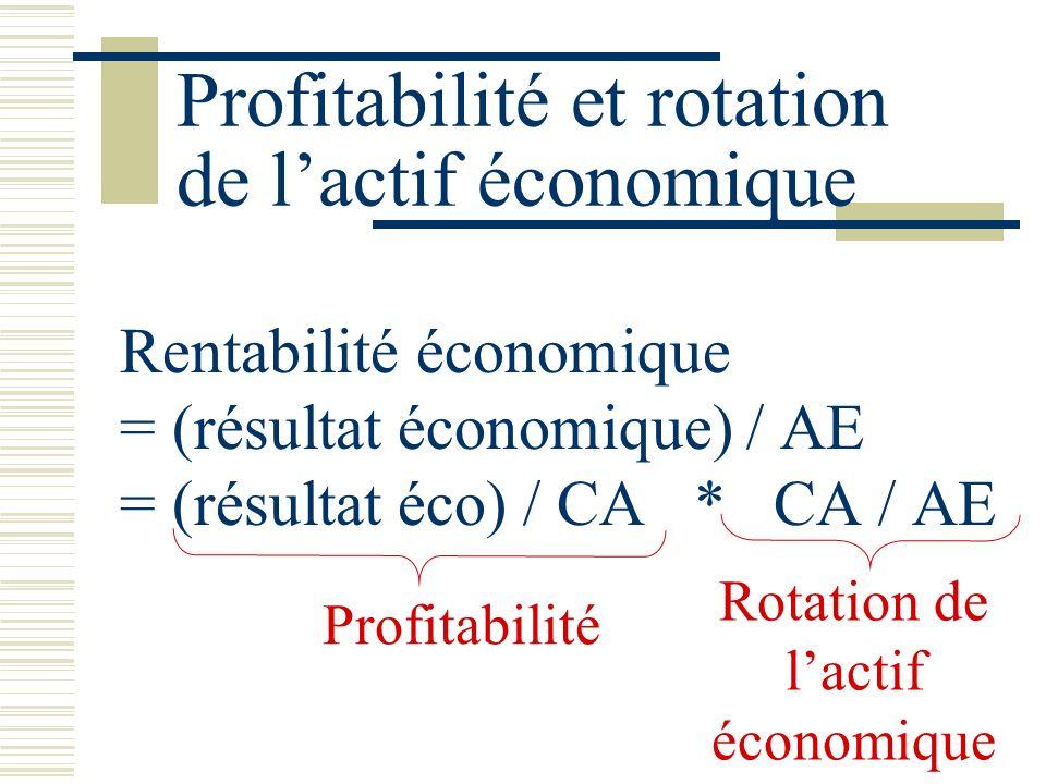 Profitabilité et rotation de lactif économique Rentabilité économique = (résultat économique) / AE = (résultat éco) / CA * CA / AE Rotation de lactif économique Profitabilité