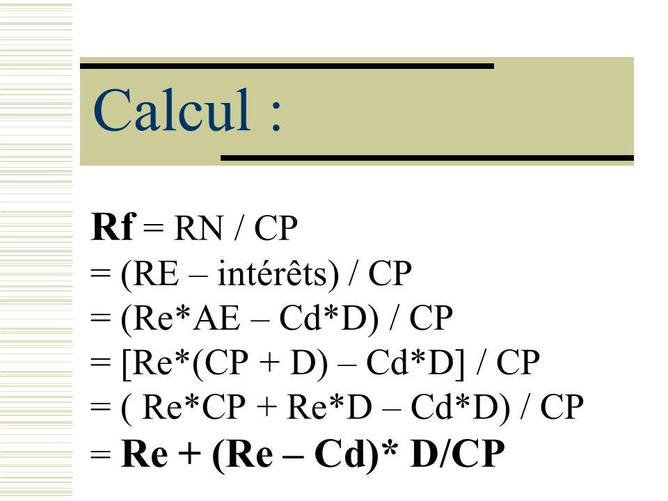 Calcul : Rf = RN / CP = (RE – intérêts) / CP = (Re*AE – Cd*D) / CP = [Re*(CP + D) – Cd*D] / CP = ( Re*CP + Re*D – Cd*D) / CP = Re + (Re – Cd)* D/CP