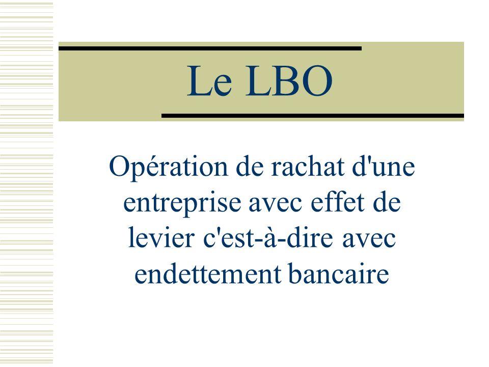 Le LBO Opération de rachat d'une entreprise avec effet de levier c'est-à-dire avec endettement bancaire
