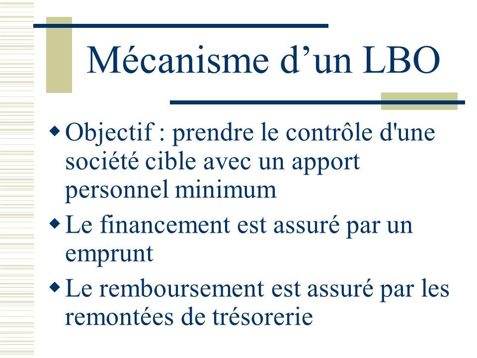 Mécanisme dun LBO Objectif : prendre le contrôle d une société cible avec un apport personnel minimum Le financement est assuré par un emprunt Le remboursement est assuré par les remontées de trésorerie