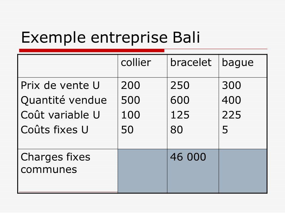 Exemple entreprise Bali collierbraceletbague Prix de vente U Quantité vendue Coût variable U Coûts fixes U 200 500 100 50 250 600 125 80 300 400 225 5