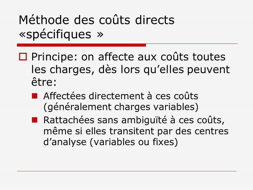 Méthode des coûts directs «spécifiques » Principe: on affecte aux coûts toutes les charges, dès lors quelles peuvent être: Affectées directement à ces