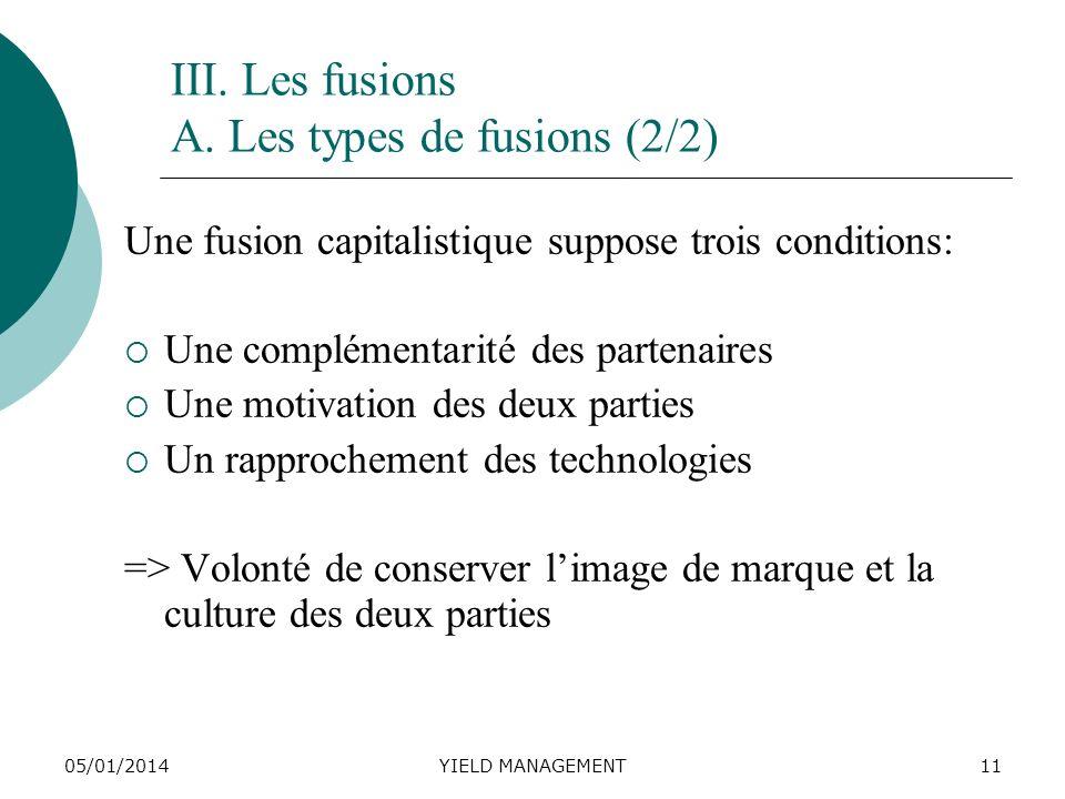 05/01/2014YIELD MANAGEMENT11 III. Les fusions A. Les types de fusions (2/2) Une fusion capitalistique suppose trois conditions: Une complémentarité de