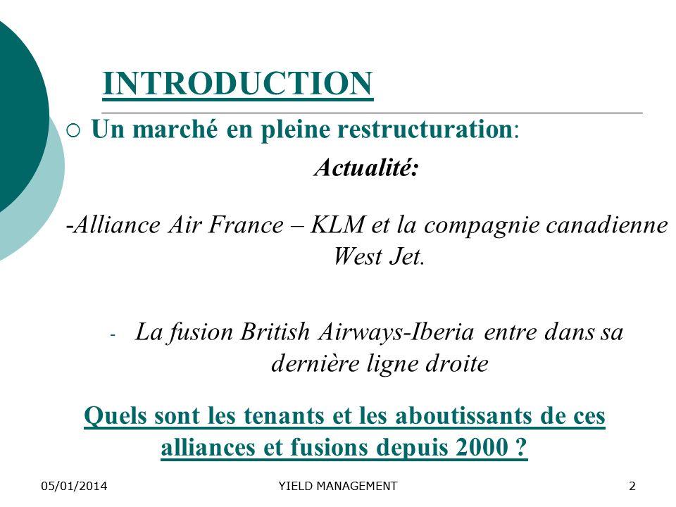05/01/2014YIELD MANAGEMENT205/01/2014YIELD MANAGEMENT2 INTRODUCTION Un marché en pleine restructuration: Actualité: -Alliance Air France – KLM et la c