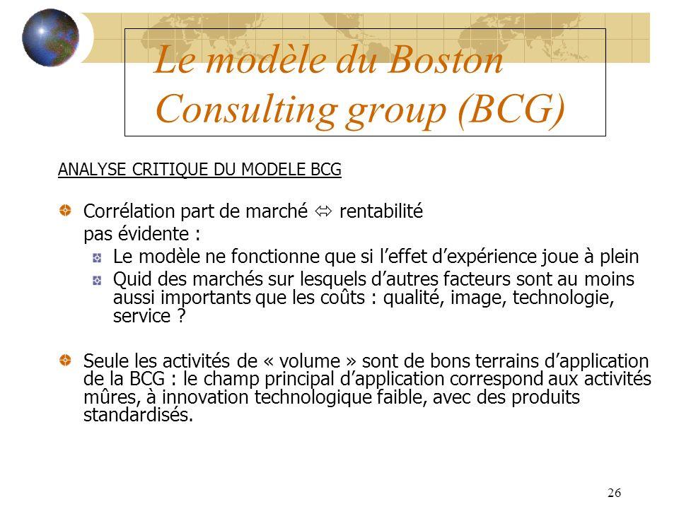 26 Le modèle du Boston Consulting group (BCG) ANALYSE CRITIQUE DU MODELE BCG Corrélation part de marché rentabilité pas évidente : Le modèle ne fonctionne que si leffet dexpérience joue à plein Quid des marchés sur lesquels dautres facteurs sont au moins aussi importants que les coûts : qualité, image, technologie, service .
