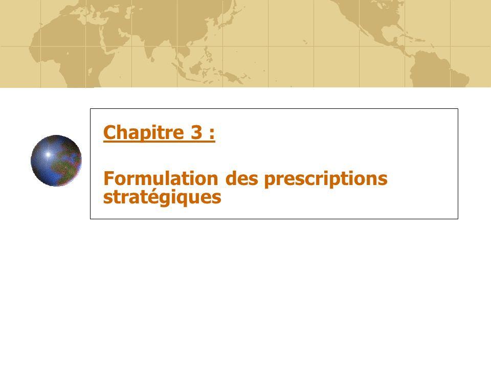 33 Chapitre 3 : Formulation des prescriptions stratégiques