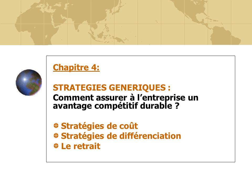 38 Chapitre 4: STRATEGIES GENERIQUES : Comment assurer à lentreprise un avantage compétitif durable ? Stratégies de coût Stratégies de différenciation